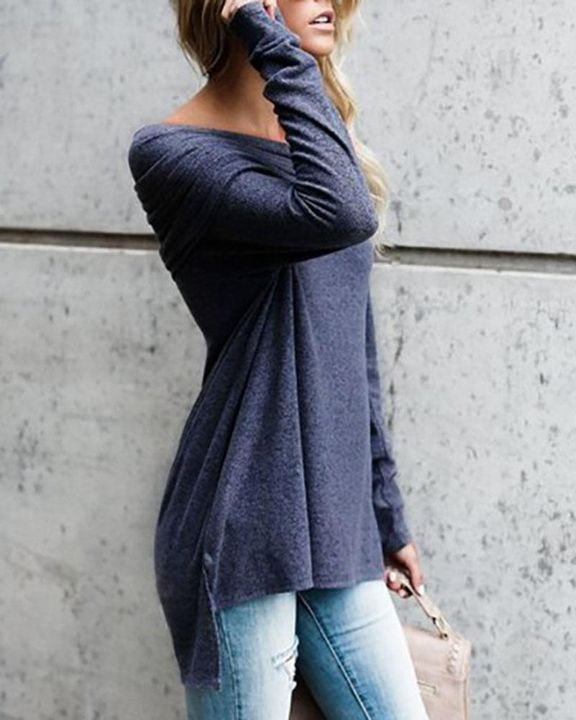 Off Shoulder High Low Sweater gallery 2