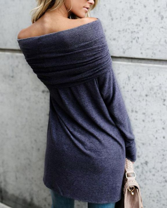 Off Shoulder High Low Sweater gallery 3