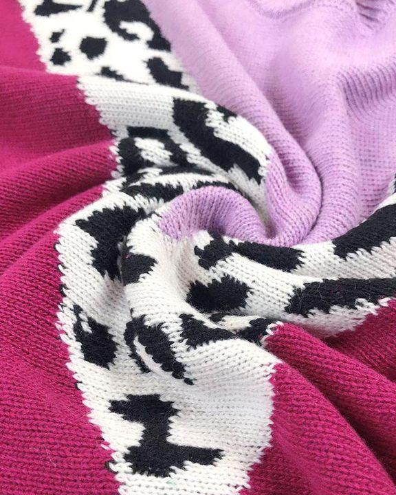 Cheetah Panel Colorblock Drop Shoulder Sweater  gallery 5
