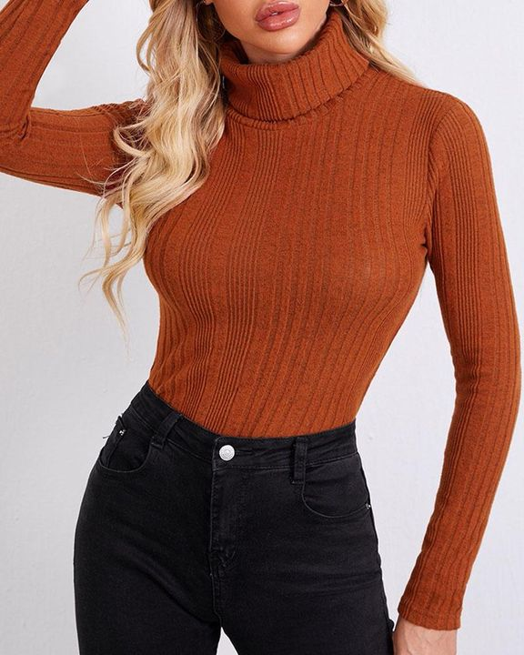 Solid Ribbed Long Sleeve Sweater gallery 7