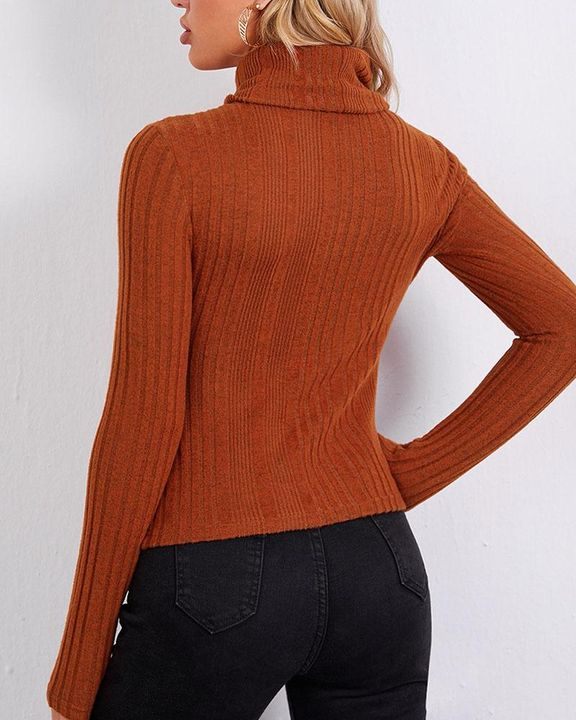 Solid Ribbed Long Sleeve Sweater gallery 6