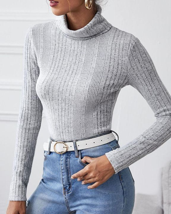 Solid Ribbed Long Sleeve Sweater gallery 4