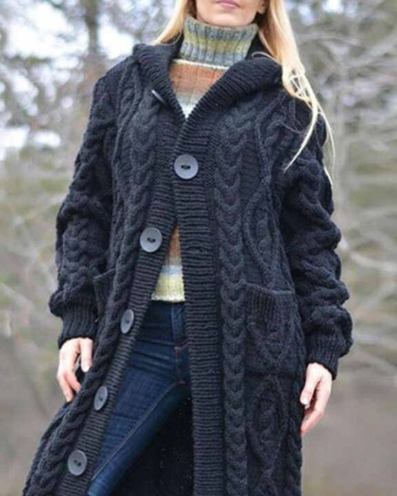 Button Up Dual Pocket Cable Knit Hooded Cardigan gallery 2