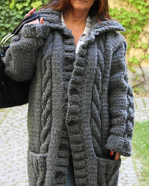 Cable Knit Button Up Pocket Detail Cardigan gallery 3