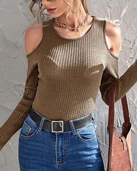 Rib Knit Cold Shoulder Bodycon Sweater gallery 1