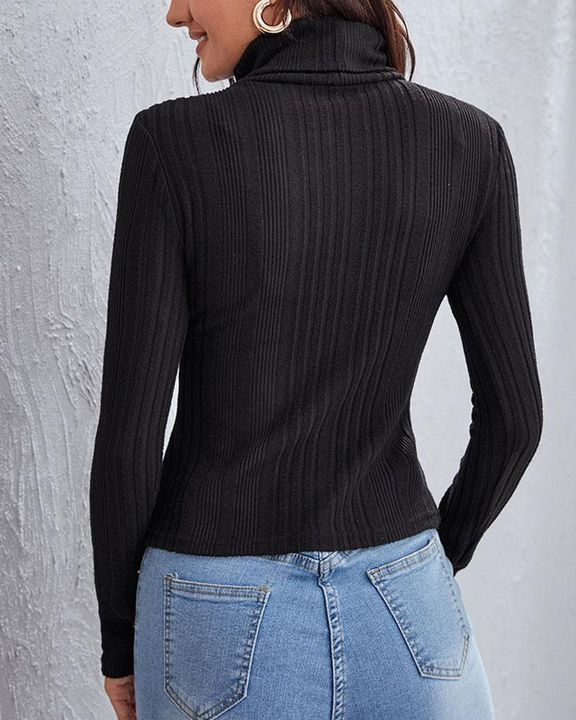 Solid Ribbed Long Sleeve Sweater gallery 8
