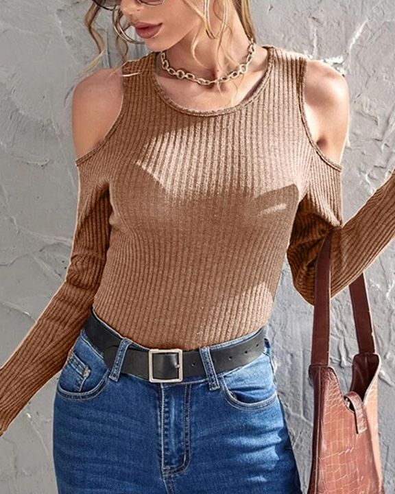 Rib Knit Cold Shoulder Bodycon Sweater gallery 3