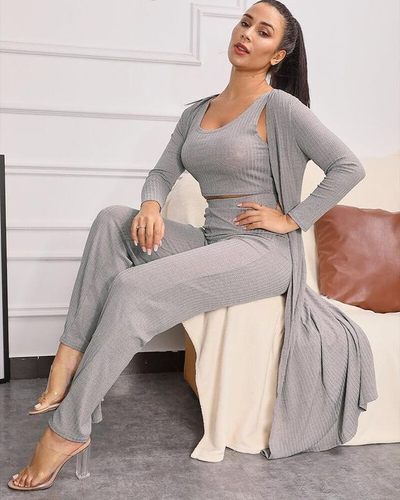 Ribbed Scoop Neck Top & Pant Set with Robe gallery 7