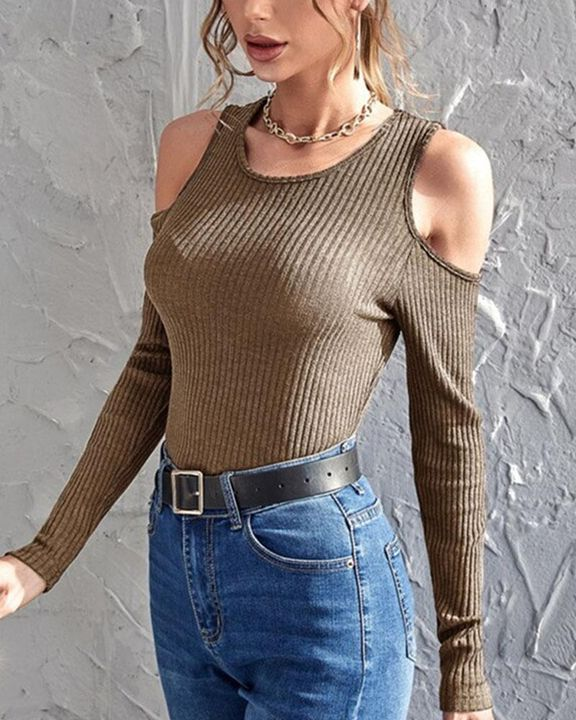 Rib Knit Cold Shoulder Bodycon Sweater gallery 5