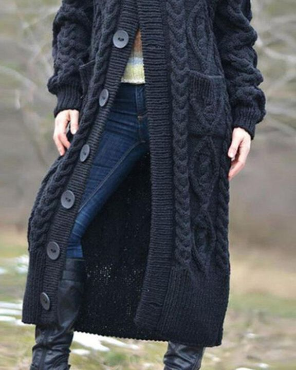 Button Up Dual Pocket Cable Knit Hooded Cardigan gallery 3