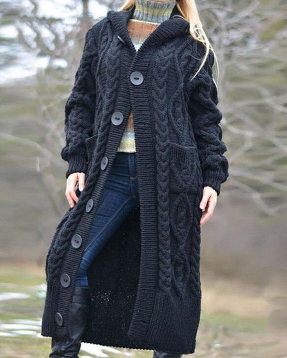 Button Up Dual Pocket Cable Knit Hooded Cardigan gallery 1
