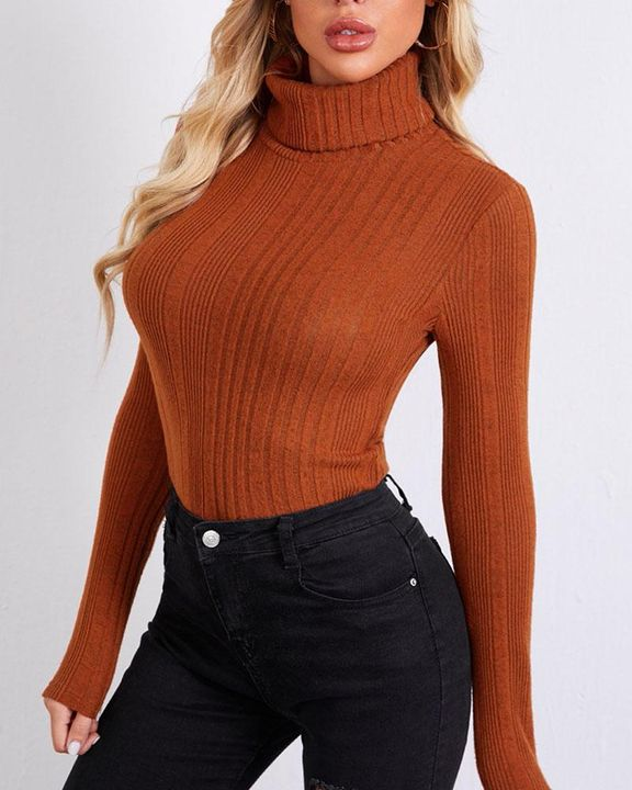Solid Ribbed Long Sleeve Sweater gallery 1
