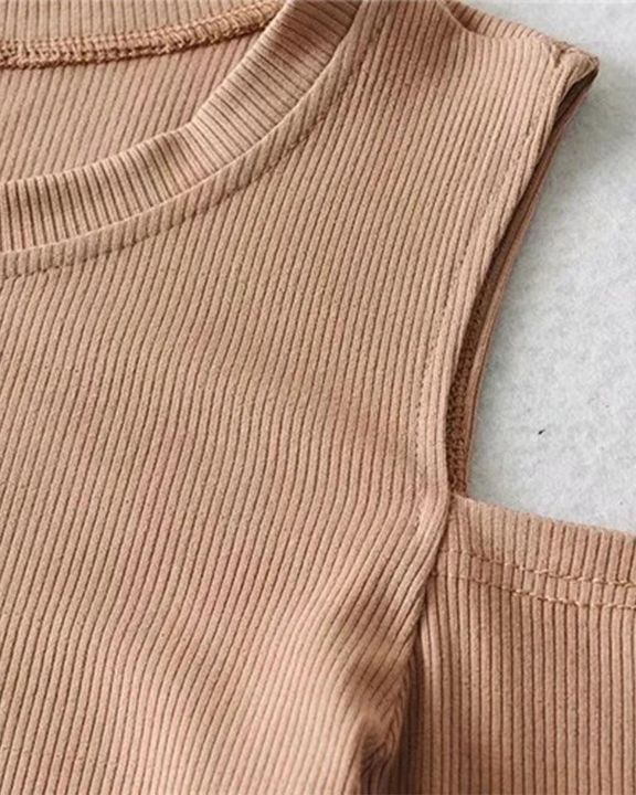 Rib Knit Cold Shoulder Bodycon Sweater gallery 14