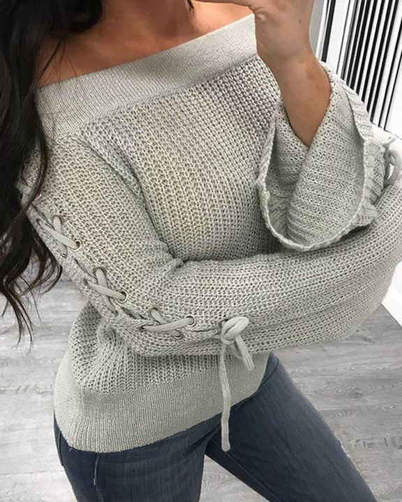Off Shoulder Grommet Eyelet Lace Up Bell Sleeve Sweater  gallery 4