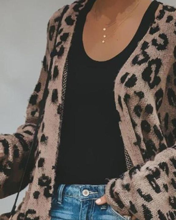 Leopard Print Open-Front High Low Cardigan gallery 2