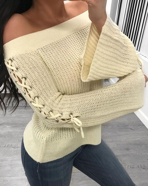 Off Shoulder Grommet Eyelet Lace Up Bell Sleeve Sweater  gallery 1