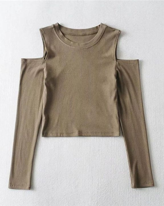 Rib Knit Cold Shoulder Bodycon Sweater gallery 7