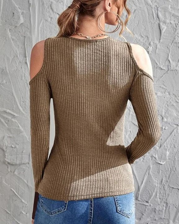 Rib Knit Cold Shoulder Bodycon Sweater gallery 6