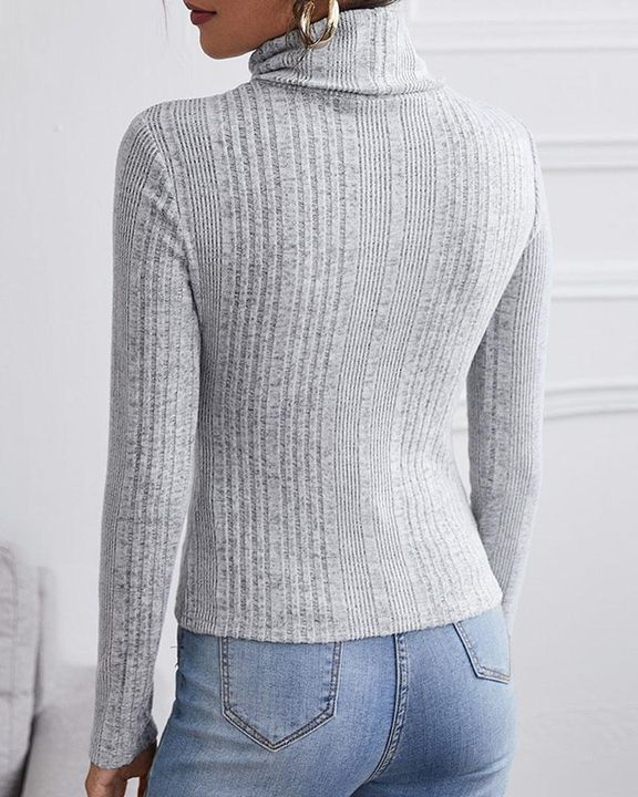 Solid Ribbed Long Sleeve Sweater gallery 10