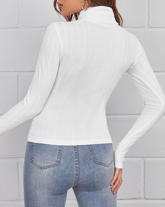Solid Ribbed Long Sleeve Sweater gallery 12