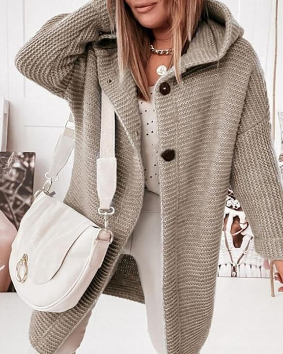 Solid Button Up Drop Shoulder Hooded Cardigan gallery 1