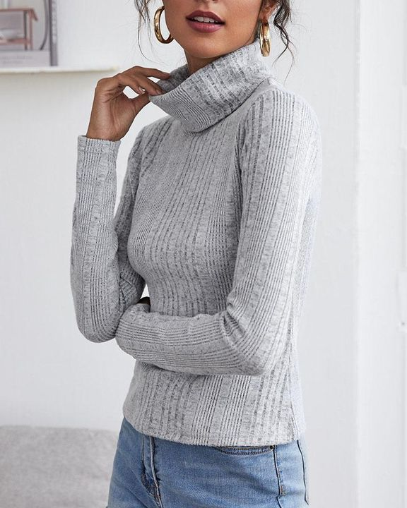 Solid Ribbed Long Sleeve Sweater gallery 11