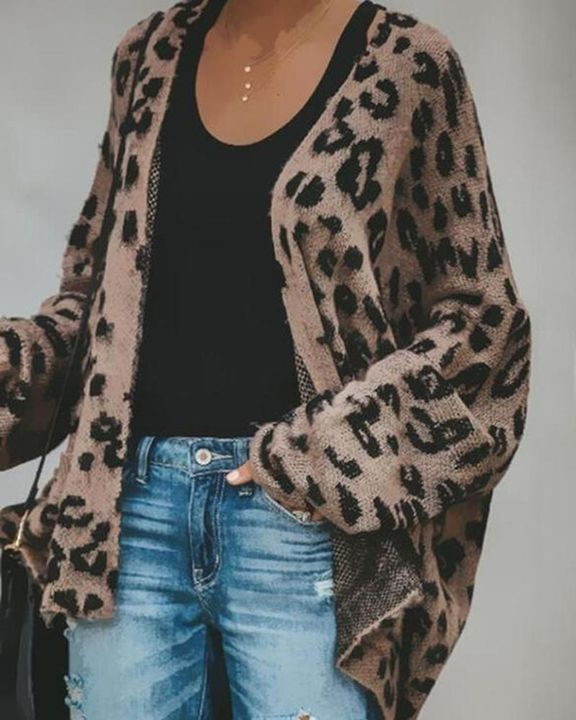Leopard Print Open-Front High Low Cardigan gallery 1