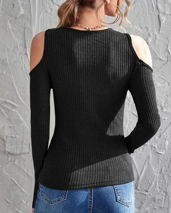 Rib Knit Cold Shoulder Bodycon Sweater gallery 11
