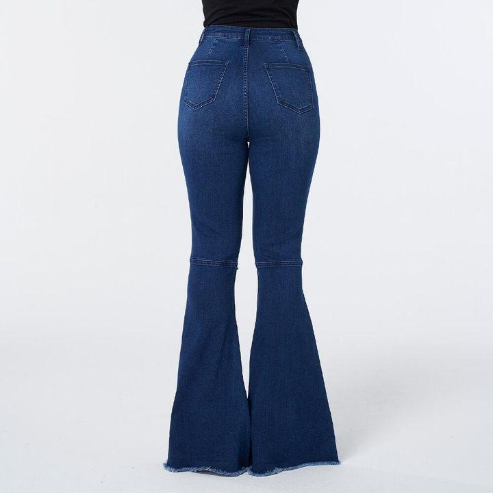 Dark Blue Wash High Waist Distressed Flare Jeans gallery 6