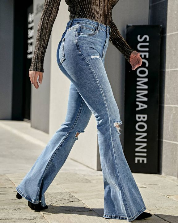 Contrast Knee Ripped Flare Jeans gallery 2
