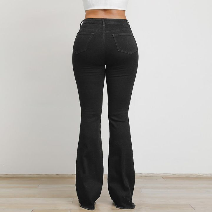Black High Waist Distressed Flare Jeans gallery 4