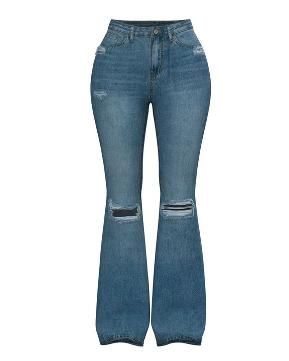 Contrast Knee Ripped Flare Jeans gallery 8