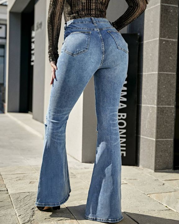 Contrast Knee Ripped Flare Jeans gallery 3