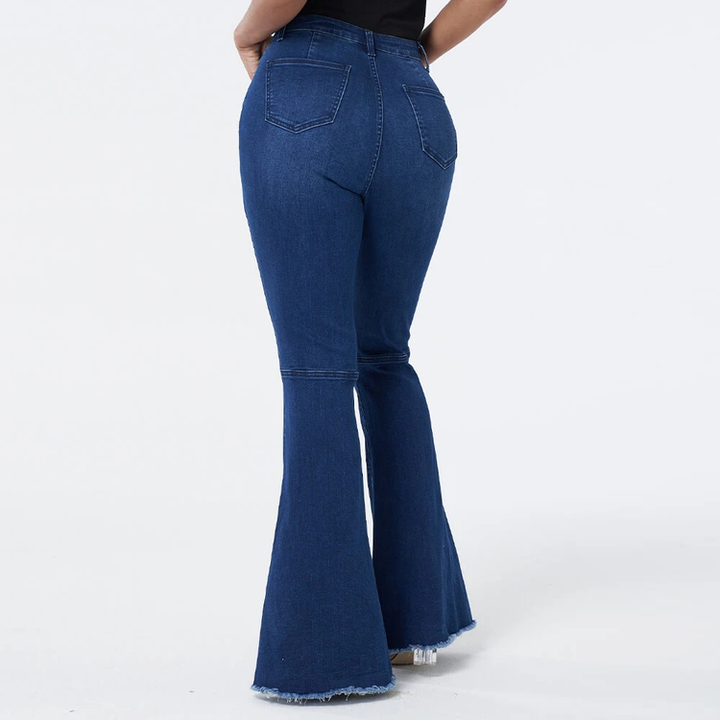 Dark Blue Wash High Waist Distressed Flare Jeans gallery 7