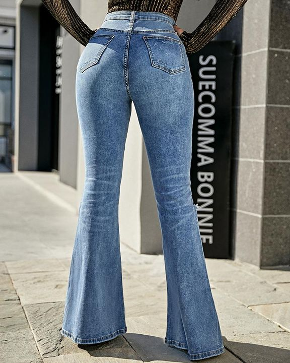Contrast Knee Ripped Flare Jeans gallery 5