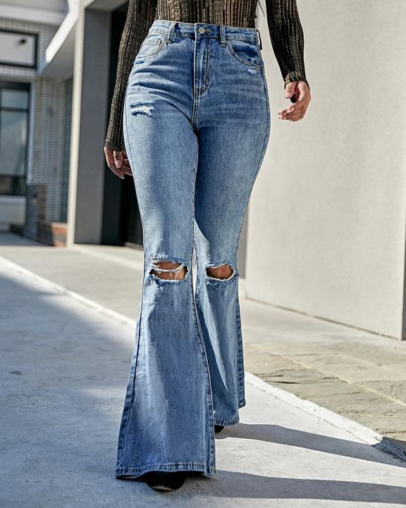 Contrast Knee Ripped Flare Jeans gallery 4