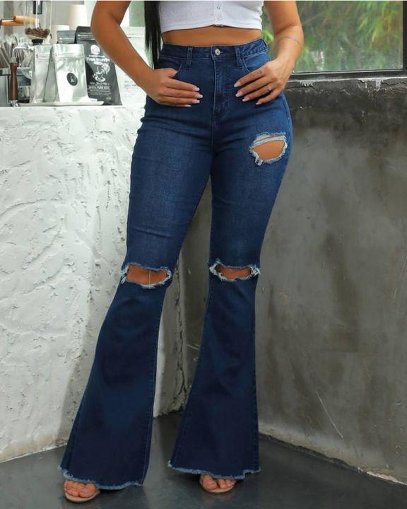 Dark Blue Wash High Waist Distressed Flare Jeans gallery 1