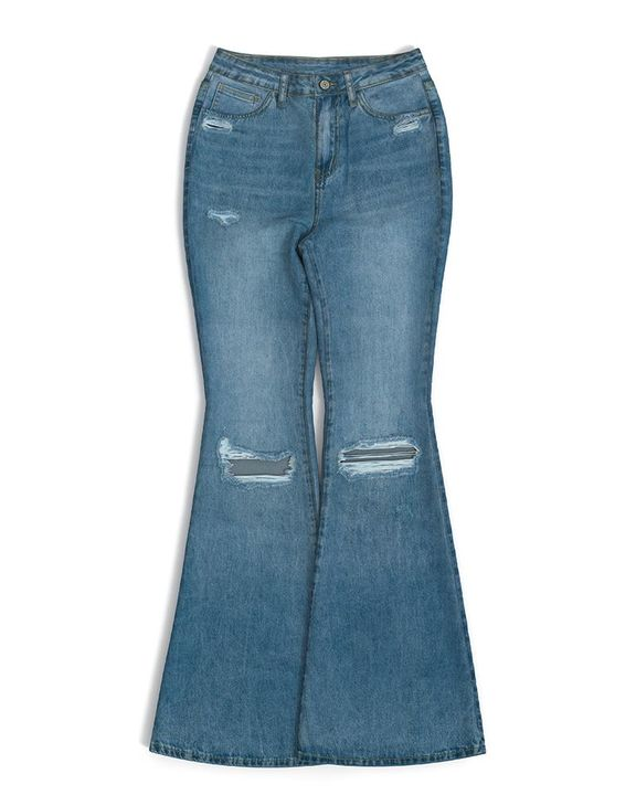 Contrast Knee Ripped Flare Jeans gallery 11