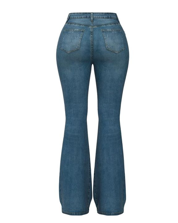 Contrast Knee Ripped Flare Jeans gallery 10