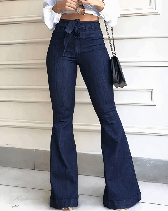 Tie Waist Butt Lifting Flare Jeans gallery 1