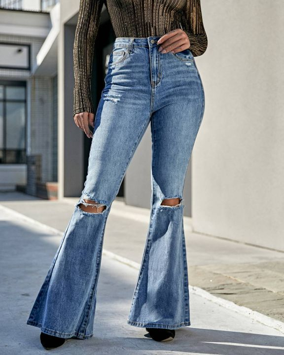 Contrast Knee Ripped Flare Jeans gallery 1