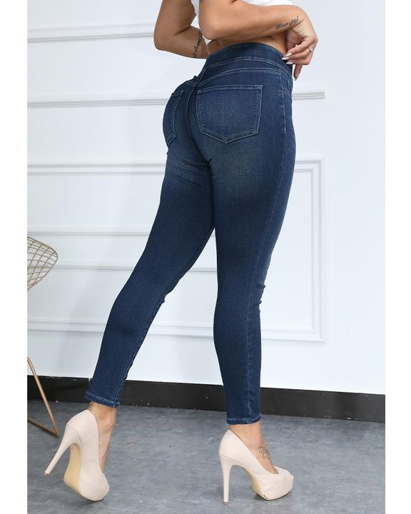 Solid Chevron Waistband Skinny Jeans gallery 8
