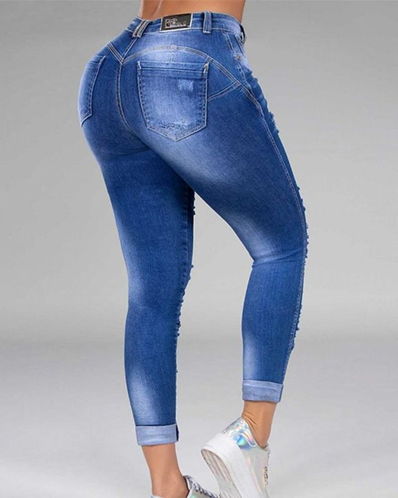 Plus Size Ripped Distressed Skinny Jeans gallery 7