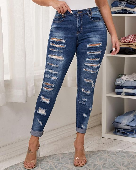 Plus Size Ripped Distressed Skinny Jeans gallery 1