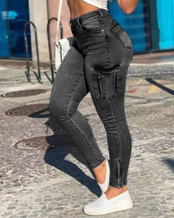 Flap Pocket Zipper Side Skinny Jeans gallery 3