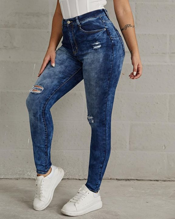 Ripped High Waist Stretchy Curvy Skinny Jeans gallery 4