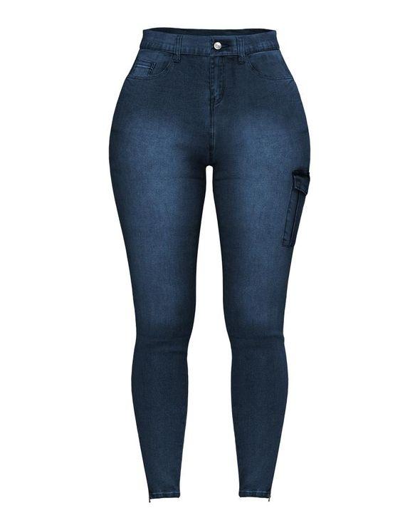 Flap Pocket Zipper Side Skinny Jeans gallery 21