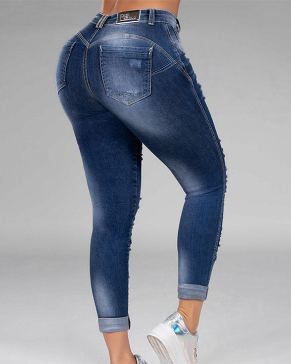 Plus Size Ripped Distressed Skinny Jeans gallery 9