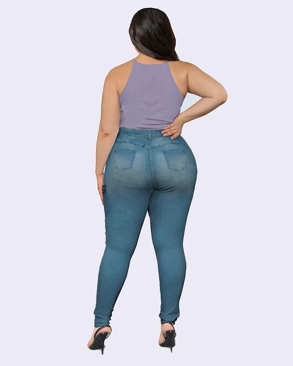 Flap Pocket Zipper Side Skinny Jeans gallery 9