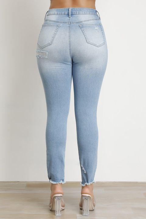 Butt Lifting Distressed Raw Hem Jeans gallery 4